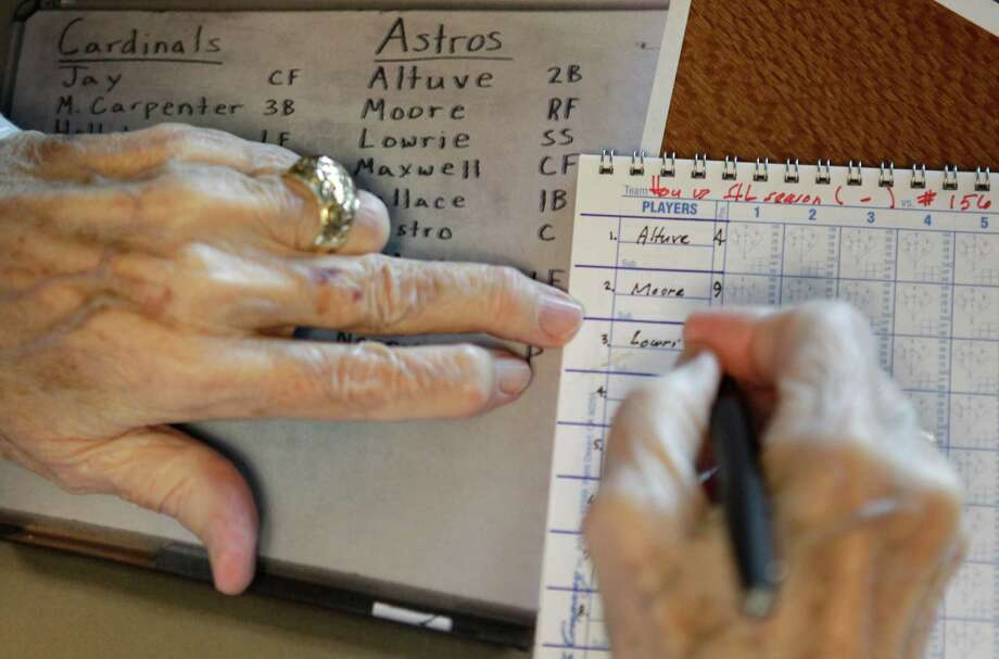 Milo Hamilton copies the starting lineup into his scorebook as he prepares in the radio booth to call the Houston Astros and St. Louis Cardinals game that will his last home game as the radio voice of the Astros at Minute Maid Park Wednesday, Sept. 26, 2012, in Houston. Photo: Melissa Phillip, Houston Chronicle / © 2012 Houston Chronicle
