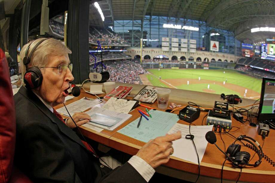 Milo Hamilton in the radio booth as he calls the Houston Astros and St. Louis Cardinals game. Photo: Melissa Phillip, Houston Chronicle / © 2012 Houston Chronicle