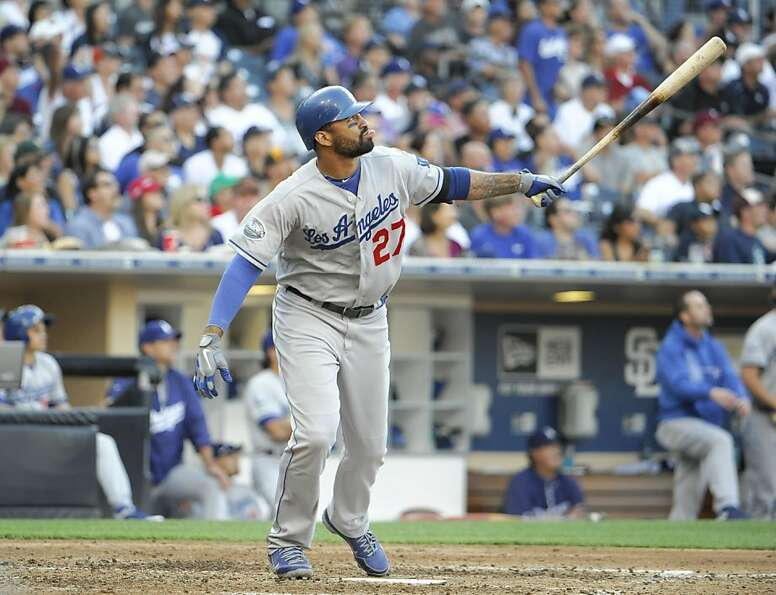 Matt Kemp #27 of the Los Angeles Dodgers hits a two-run homer during the sixth inning against the Sa