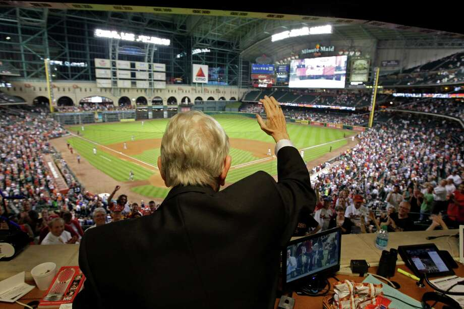Wednesday's seventh-inning stretch was a time for Milo Hamilton to soak in the appreciation of the crowd of 18,712, the last one at Minute Maid Park for the Astros as a member of the National League. Photo: Melissa Phillip / © 2012 Houston Chronicle