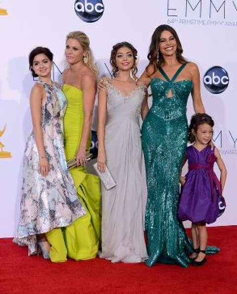 "The ladies of ""Modern Family"" at the 2012 Emmys. (L-R) Ariel Winter, Julie Bowen, Sarah Hy"