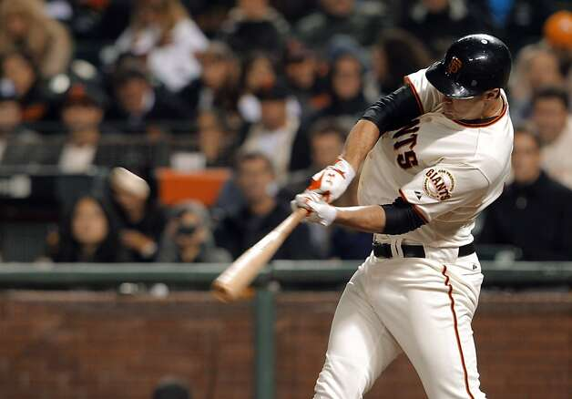 Brandon Belt isn't hitting for power, but his triple Wednesday would have been a homer anywhere else. Photo: Carlos Avila Gonzalez, The Chronicle