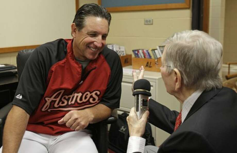 Milo Hamilton interviews Houston Astros manager Tony DeFrancesco for the pre-game show Wednesday, Sept. 26, 2012, at Minute Maid Park in Houston. The Houston Astros and St. Louis Cardinals game will be his last home game as the radio voice of the Astros, ( Melissa Phillip / Houston Chronicle ) (Houston Chronicle)