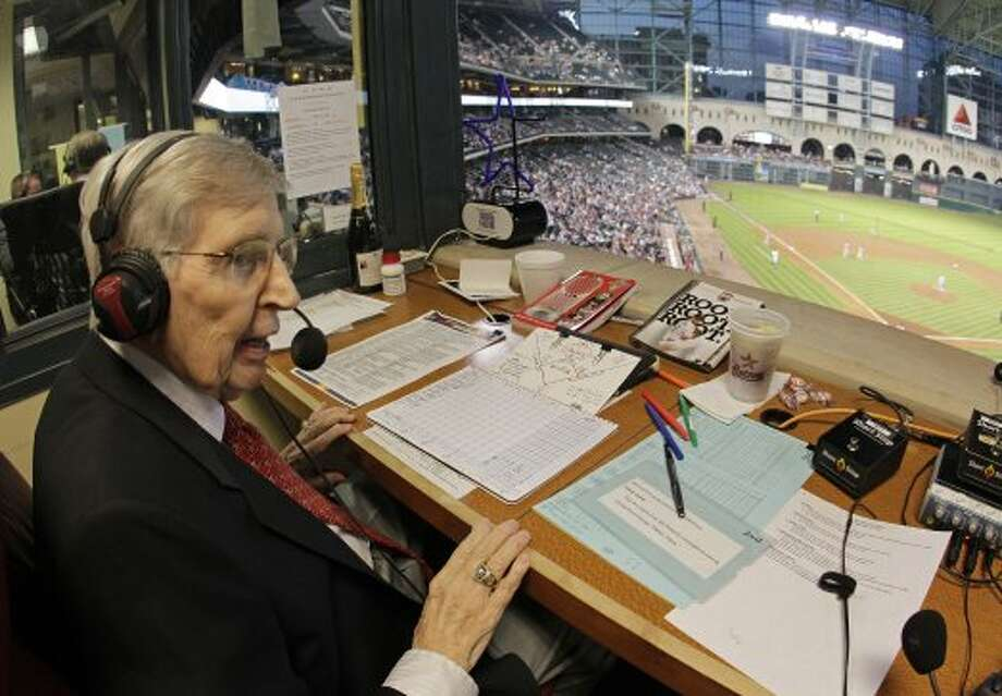 Milo Hamilton in the radio booth as he calls the Houston Astros and St. Louis Cardinals game that will his last home game as the radio voice of the Astros at Minute Maid Park Wednesday, Sept. 26, 2012, in Houston. ( Melissa Phillip / Houston Chronicle ) (Houston Chronicle)