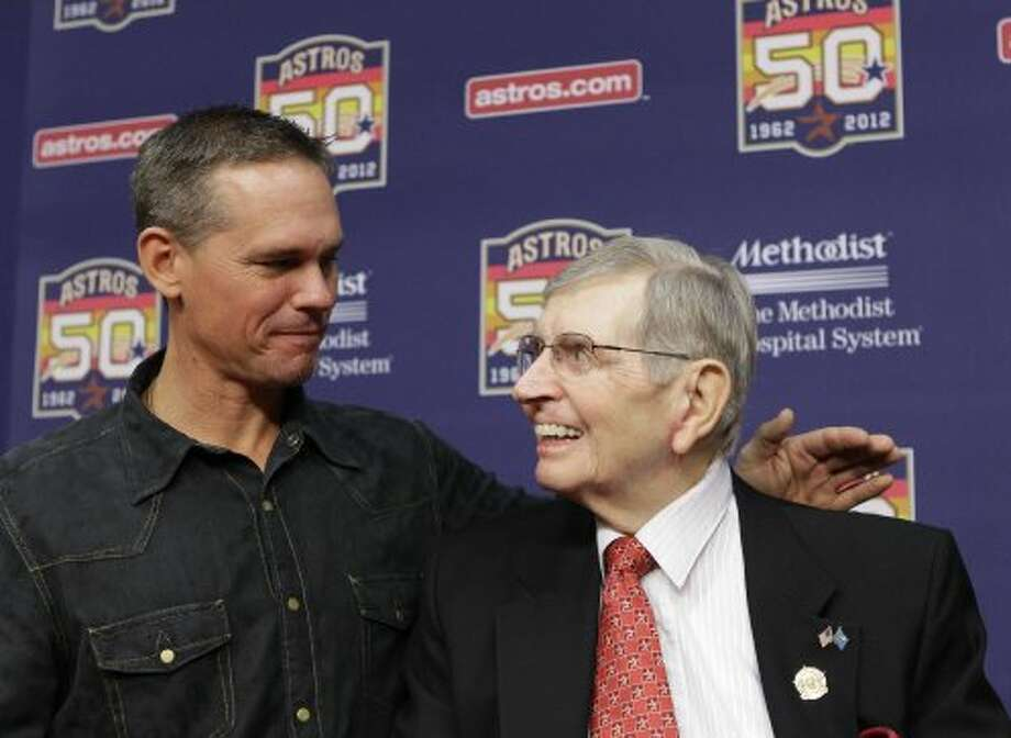 Former Astros Craig Biggio visits with Milo Hamilton after media conference before the Houston Astros and St. Louis Cardinals game that will be Milo's last home game as the radio voice of the Astros at Minute Maid Park Wednesday, Sept. 26, 2012, in Houston. ( Melissa Phillip / Houston Chronicle ) (Houston Chronicle)