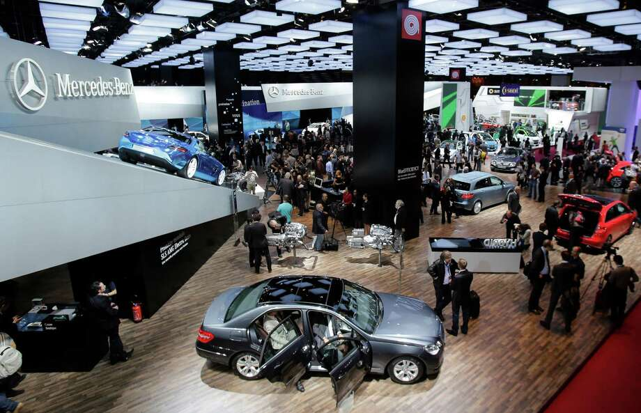 Overview of the Mercedes-Benz booth at the Paris Auto Show, France, Thursday, Sept. 27, 2012. The Paris Auto Show will open its gates to the public from Sept. 29 to Oct. 14. (AP Photo/Michel Euler) Photo: Michel Euler, Associated Press / AP