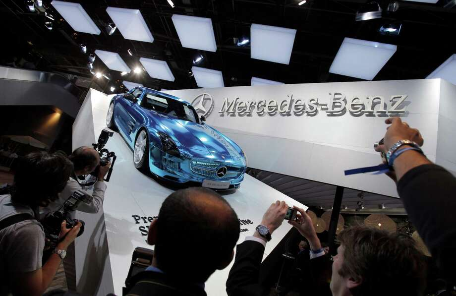 The Mercedes SLS AMG Electric Sports Car displayed during the press day at the Paris Auto Show, France, Thursday, Sept. 27, 2012. The Paris Auto Show will open its gates to the public from Sept. 29 to Oct. 14. (AP Photo/Christophe Ena) Photo: Christophe Ena, Associated Press / AP
