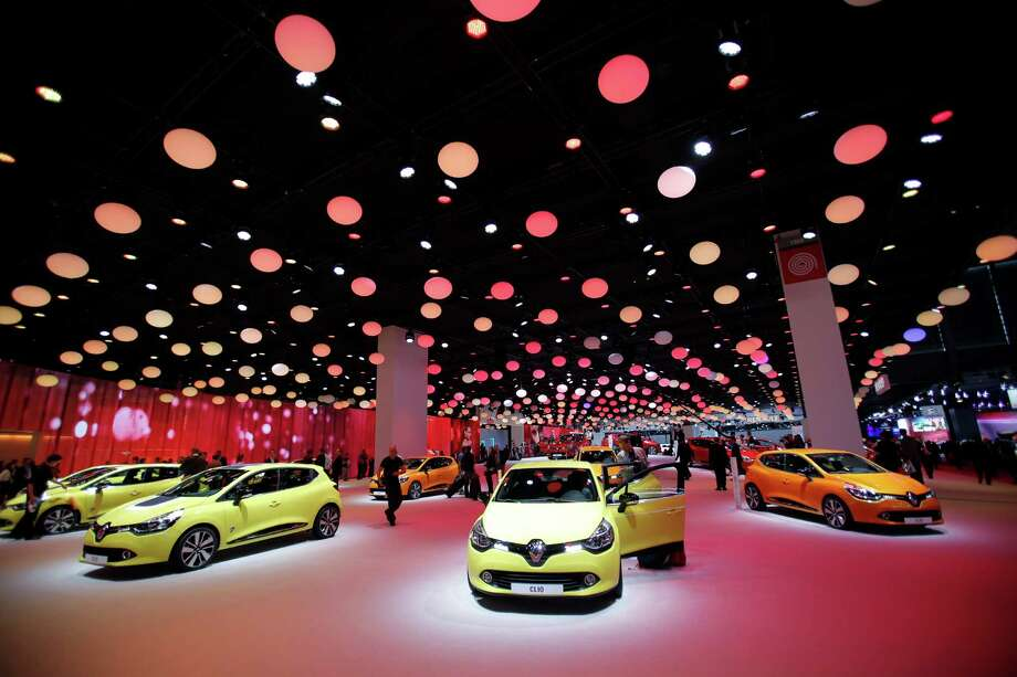 New Renault Clios on display during the press day at the Paris Auto Show, France, Thursday, Sept. 27, 2012. The Paris Auto Show will open its gates to the public from Sept. 29 to Oct. 14. (AP Photo/Christophe Ena) Photo: Christophe Ena, Associated Press / AP