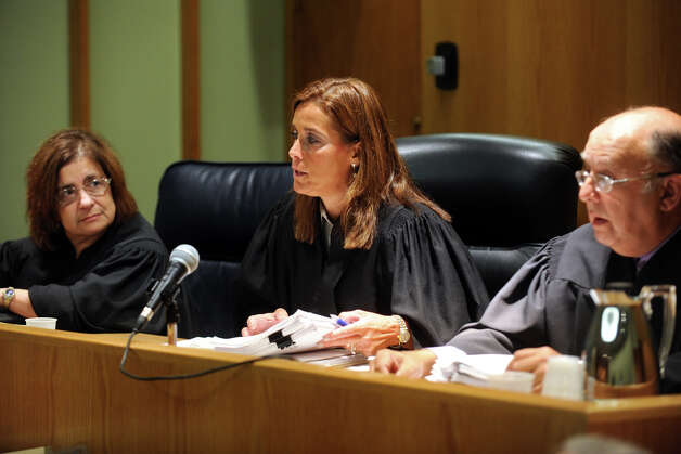 From left, Judge DiCocco Dewey, Judge Barbara Bellis and Judge Elliot Solomon sit on the panel during a hearing for former Bridgeport Mayor Joseph Ganim in Superior Court, in Bridgeport, Conn. Sept. 11th, 2012. Ganim is fighting to get his law license back. He was convicted in 2003 of federal corruption, and served seven years of a nine year sentence. Photo: Ned Gerard / Connecticut Post