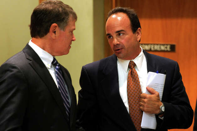 Former Bridgeport Mayor Joseph Ganim, right, and his attorney Harold Rosnick, in Bridgeport, Conn. Sept. 11th, 2012. Ganim appeared in front of a three judge panel Tuesday in his effort to regain his law license. He was convicted in 2003 of federal corruption, and served seven years of a nine year sentence. Photo: Ned Gerard / Connecticut Post