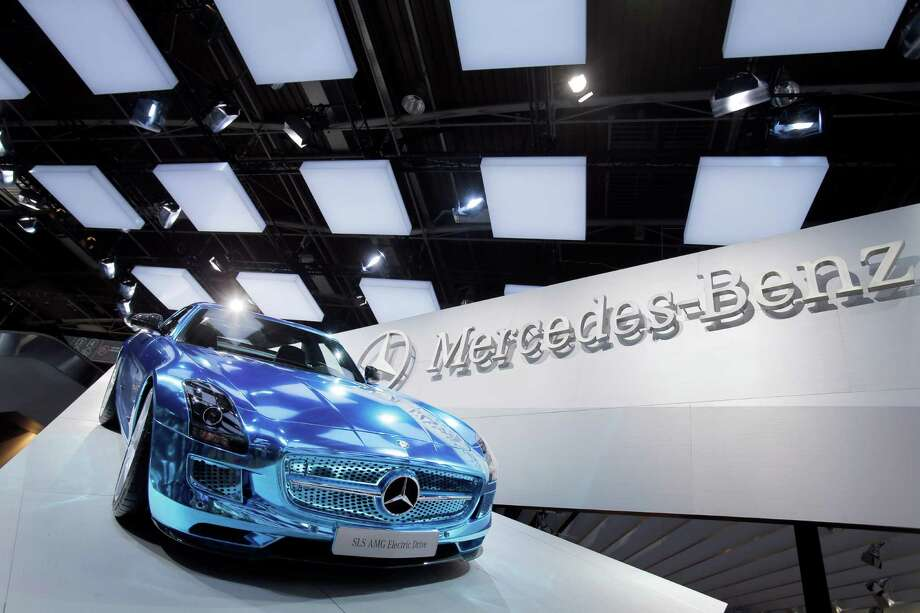 The Mercedes SLS AMG Electric Sports Car on display during the press day at the Paris Auto Show, France, Thursday, Sept. 27, 2012. The Paris Auto Show will open its gates to the public from Saturday to Oct. 14. Photo: Christophe Ena