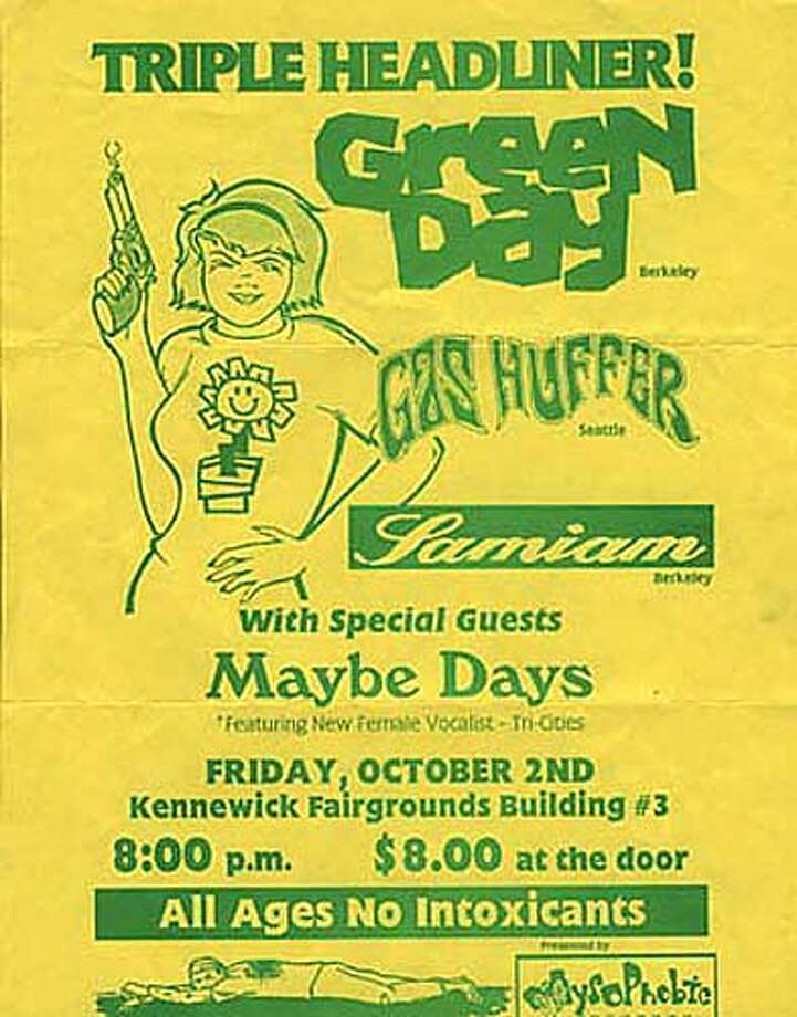 Green Day, 1992: An early flyer advertising a triple headlining gig with Gas Huffer and Samiam. All for a whopping $8.