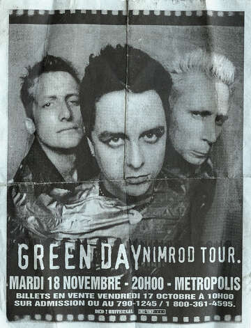 Green Day, 1997: A handbill for a date on the European tour in support of 'Nimrod.'