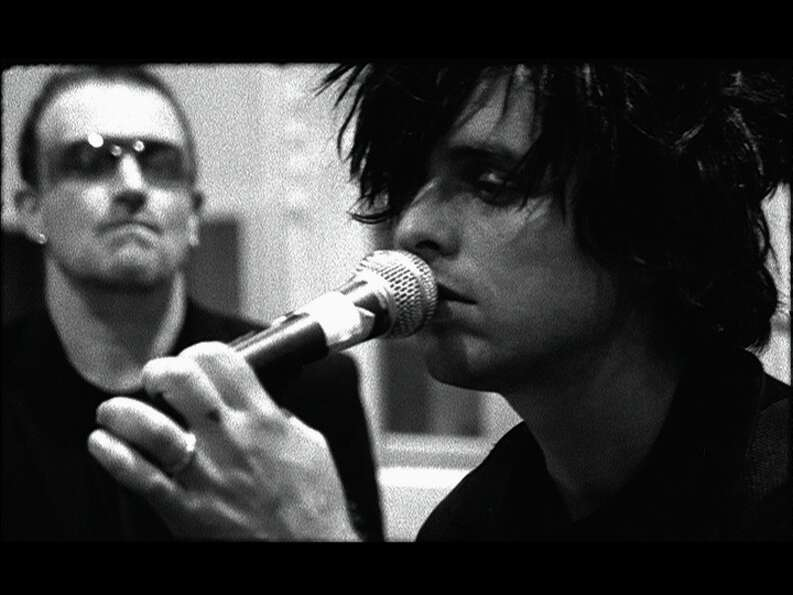 Green Day, 2006: Bono and Billie Joe Armstrong in the studio together working on the joint charity s