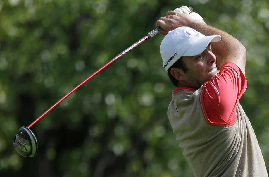Europe's Francesco Molinari hits a drive on the 15th hole during a practice round at the Ryder Cup PGA golf tournament Thursday, Sept. 27, 2012, at the Medinah Country Club in Medinah, Ill. (AP Photo/Chris Carlson) Photo: Chris Carlson, Associated Press / AP