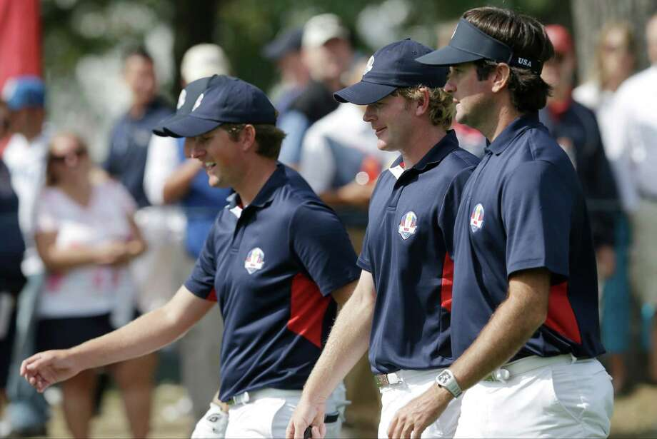 USA's Jim Furyk, Webb Simpson, Brandt Snedeker and Bubba Watson make their way to the sixth green during a practice round at the Ryder Cup PGA golf tournament Thursday, Sept. 27, 2012, at the Medinah Country Club in Medinah, Ill. (AP Photo/David J. Phillip) Photo: David J. Phillip, Associated Press / AP