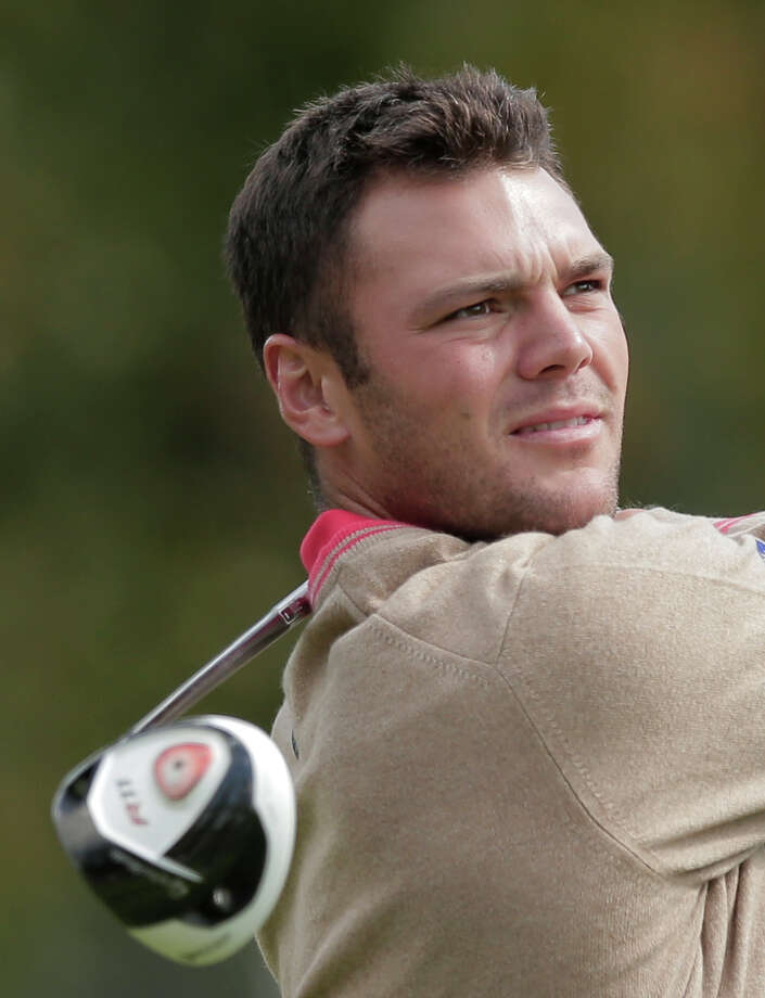 Europe's Martin Kaymer hits a drive on the 15th hole during a practice round at the Ryder Cup PGA golf tournament Thursday, Sept. 27, 2012, at the Medinah Country Club in Medinah, Ill. (AP Photo/Charlie Riedel) Photo: Charlie Riedel, Associated Press / AP