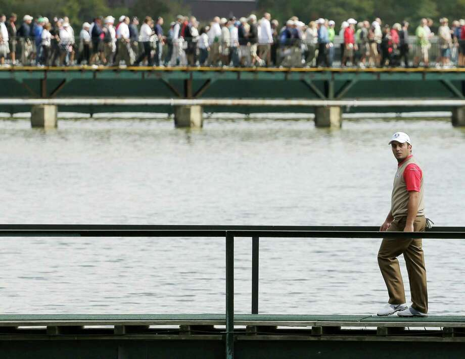 Europe's Francesco Molinari makes is way to the 13th hole during a practice round at the Ryder Cup PGA golf tournament Thursday, Sept. 27, 2012, at the Medinah Country Club in Medinah, Ill. (AP Photo/Charlie Riedel) Photo: Charlie Riedel, Associated Press / AP