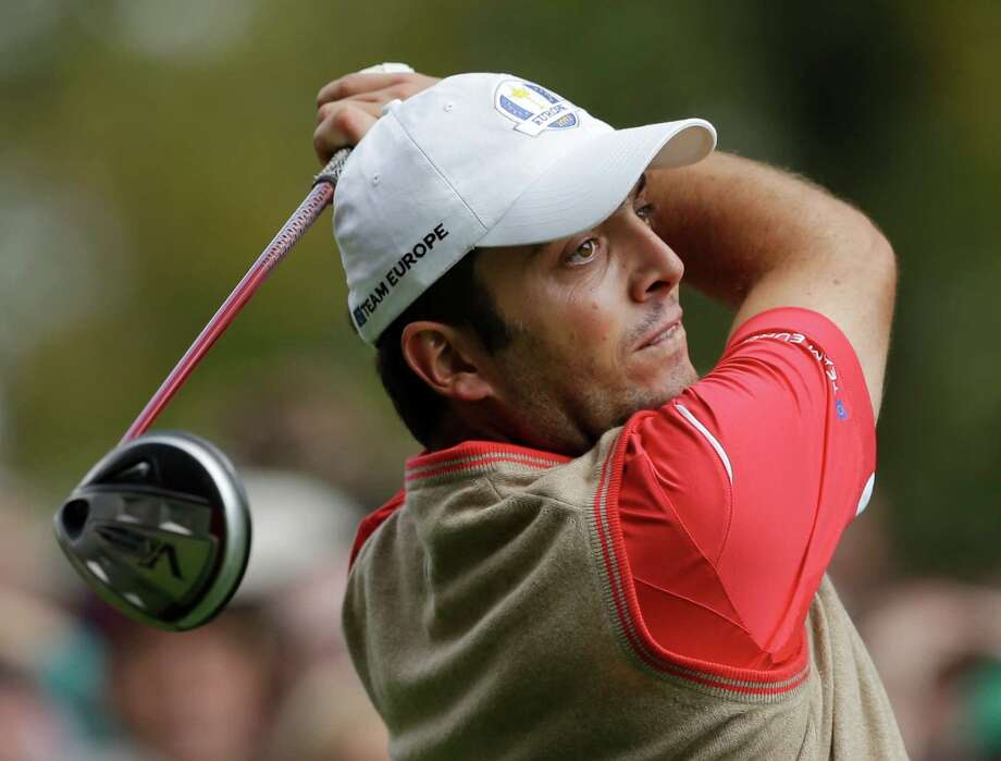 Europe's Francesco Molinari hits a drive on the 14th hole during a practice round at the Ryder Cup PGA golf tournament Thursday, Sept. 27, 2012, at the Medinah Country Club in Medinah, Ill. (AP Photo/Chris Carlson) Photo: Chris Carlson, Associated Press / AP