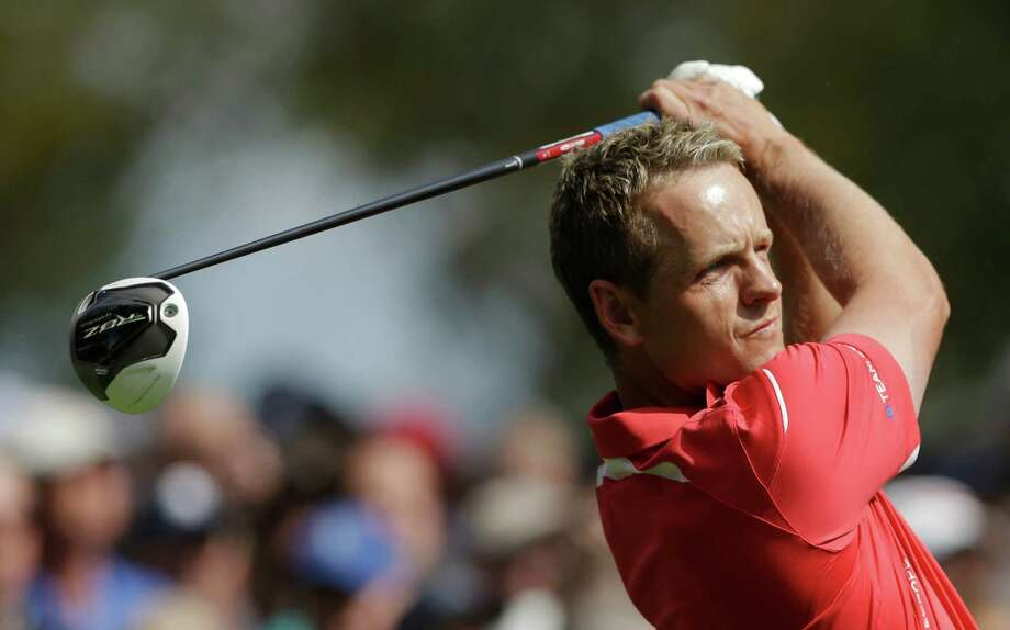 Europe's Luke Donald hits a drive on the 14th hole during a practice round at the Ryder Cup PGA golf tournament Thursday, Sept. 27, 2012, at the Medinah Country Club in Medinah, Ill. (AP Photo/Chris Carlson) Photo: Chris Carlson, Associated Press / AP