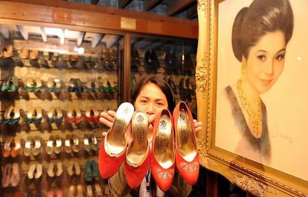Former Philippine first lady Imelda Marcos' shoe collection is on display at a museum in Manila. Photo: Ted Aljibe, AFP/Getty Images