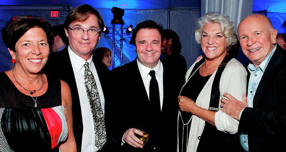 At the recent Westport Country Playhouse tribute to playwright Terrence McNally, right, were, from left:  Ann Sheffer, playhouse board of trustees member; Richard Thomas, co-host; Nathan Lane, guest, and Tyne Daly, co-host. Photo: Contributed Photo / Westport News contributed