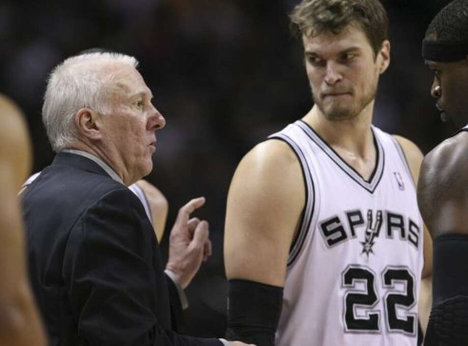 Is Tiago Splitter ready for a major role?As with sideline reporters and officials, Popovich has yet to trust his young Brazilian center. Despite outstanding production through two seasons (16 points, 9.8 rebounds per 36 minutes, 61.2 true shooting percentage), Splitter has earned only two starts while seeing his minutes evaporate in the postseason.Though it's far too simplistic to guarantee Splitter would put up those kinds of numbers with commensurate playing time, you'd think he's ready for a bigger, more consistent role entering his third season. The big things holding him back are free-throw shooting and defense, the kind of shortcomings that drive a taskmaster like Pop crazy.Cleaning that up will not only benefit Splitter in his contract year, but also give the Spurs another dependable counter for L.A.'s size. (Edward A. Ornelas / San Antonio Express-News)
