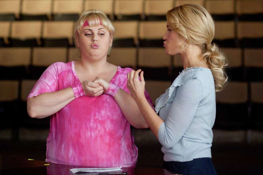 "This image released by Universal Pictures shows Rebel Wilson portraying Fat Amy, left, and Anna Camp portraying Aubrey in a scene from their film ""Pitch Perfect."" (AP Photo/Universal Pictures, Peter Iovino) Photo: Peter Iovino"
