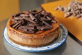 Chocolate cheese cake made by pastry chef, Emily Luchetti, in her home kitchen as seen in Sausalito, California, on Friday, September 21, 2012.