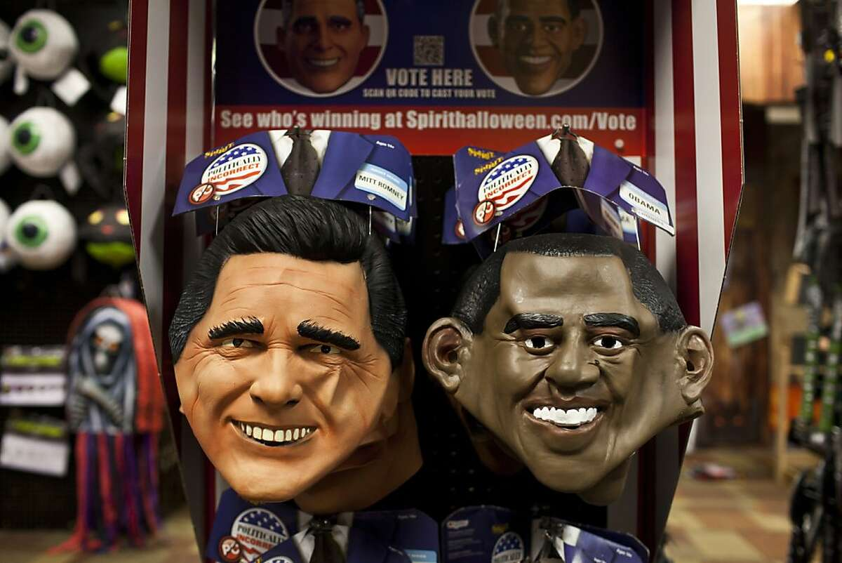 For years Spirit Halloween, a costume retailer, has been able to predict the presidential election by how many candidate masks sell. So far Obama masks are beating Romney masks by a landslide. Here the display at Spirit Halloween in San Francisco, Calif., Thursday, September 27, 2012.