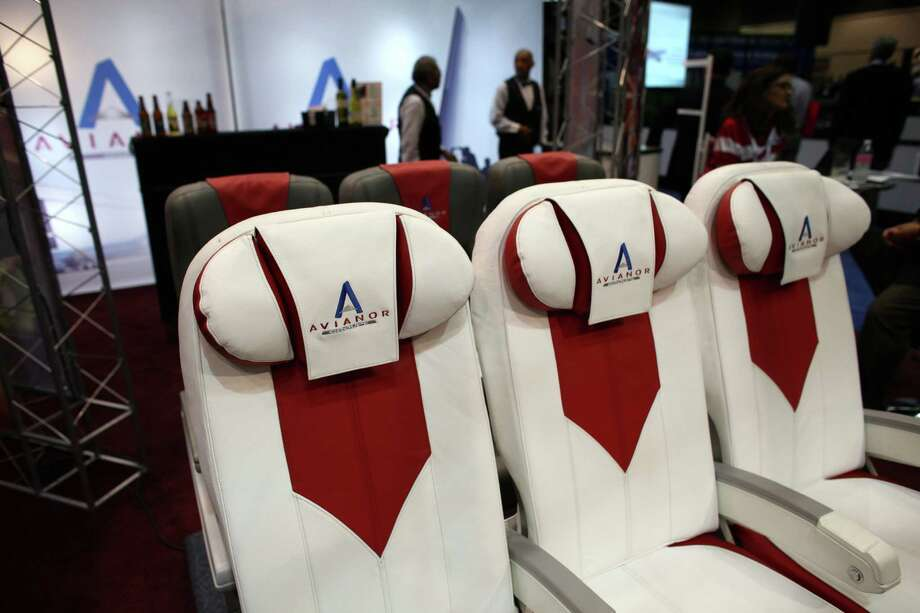 A seat display from Avianor is shown. Photo: JOSHUA TRUJILLO / SEATTLEPI.COM