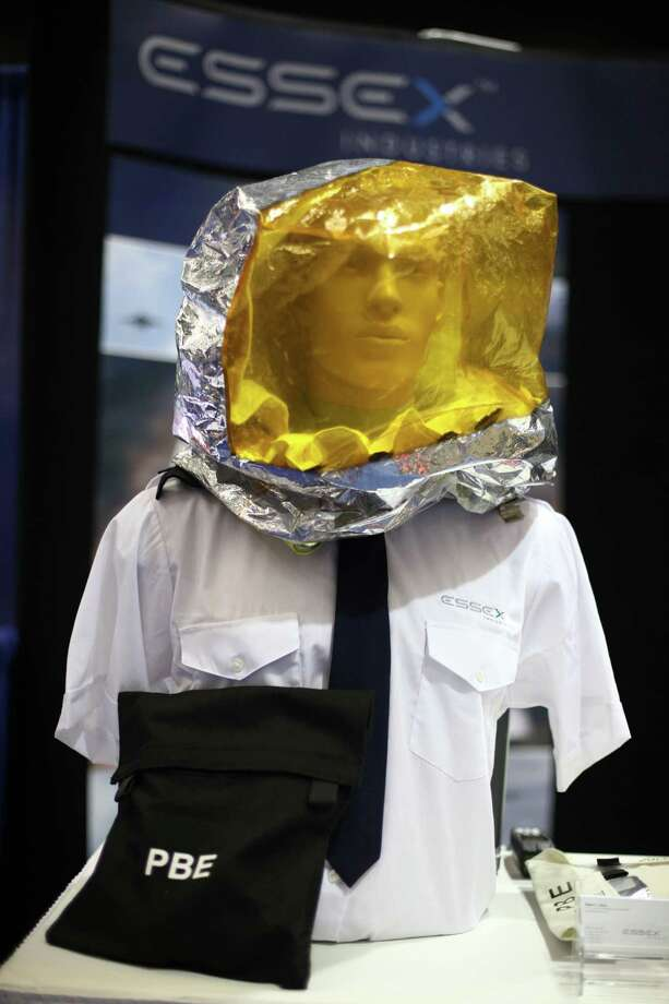Emergency protective breathing equipment for pilots by Essex Industries is shown. Photo: JOSHUA TRUJILLO / SEATTLEPI.COM