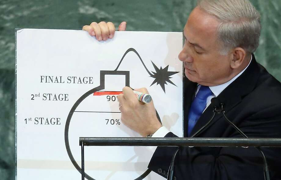 Israeli Prime Minister Benjamin Netanyahu draws a red line on a graphic of a bomb, saying Iran must be stopped before it finishes the second stage. Photo: Mario Tama, Getty Images