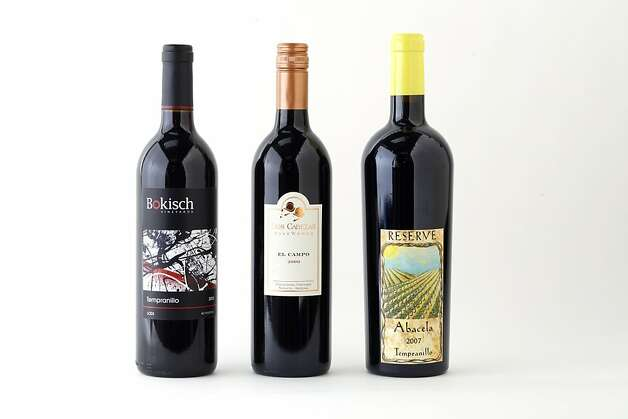 3 bottles of domestic Tempranillo left-right: 2010 Bokisch Lodi Tempranillo; 2009 Dos Cabezas El Campo Pronghorn Vineyard Sonoita Red; 2007 Abacela Reserve Umpqua Valley Tempranillo. Photo: Craig Lee, Special To The Chronicle