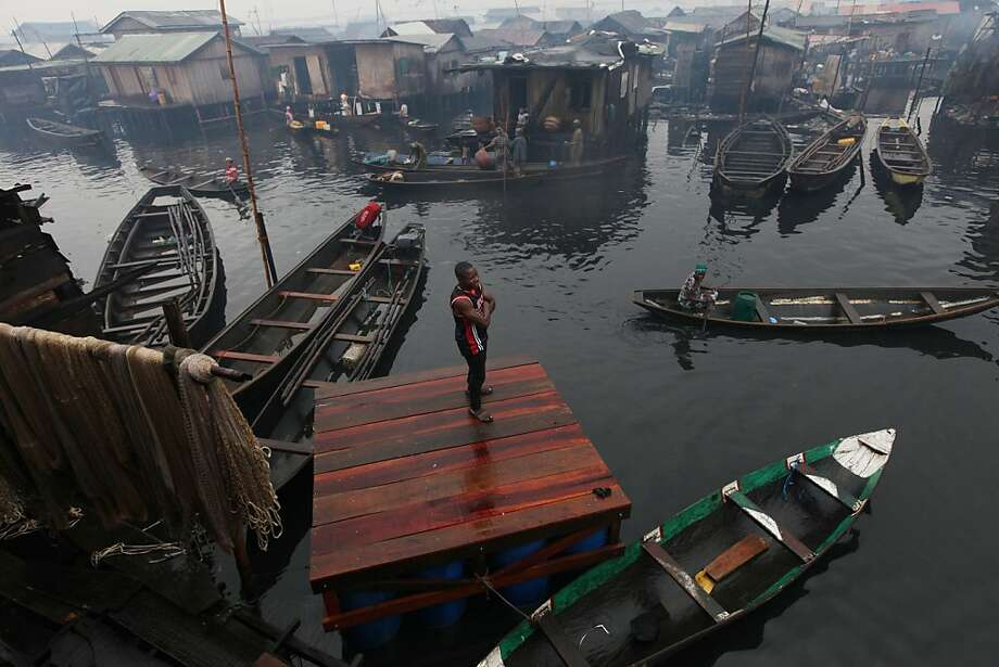 A group plans to build a floating school in this slum, which has been targeted for demolition. Photo: Sunday Alamba, Associated Press