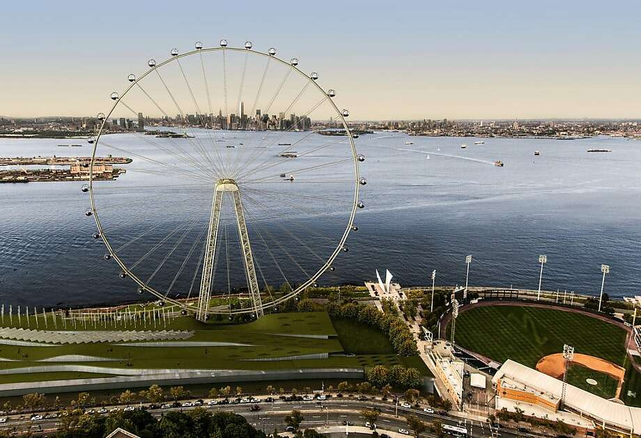 A rendering of the proposed 625-foot Ferris wheel, billed as the world's tallest, shows how the attraction would appear on the Staten Island waterfront. Photo: Associated Press