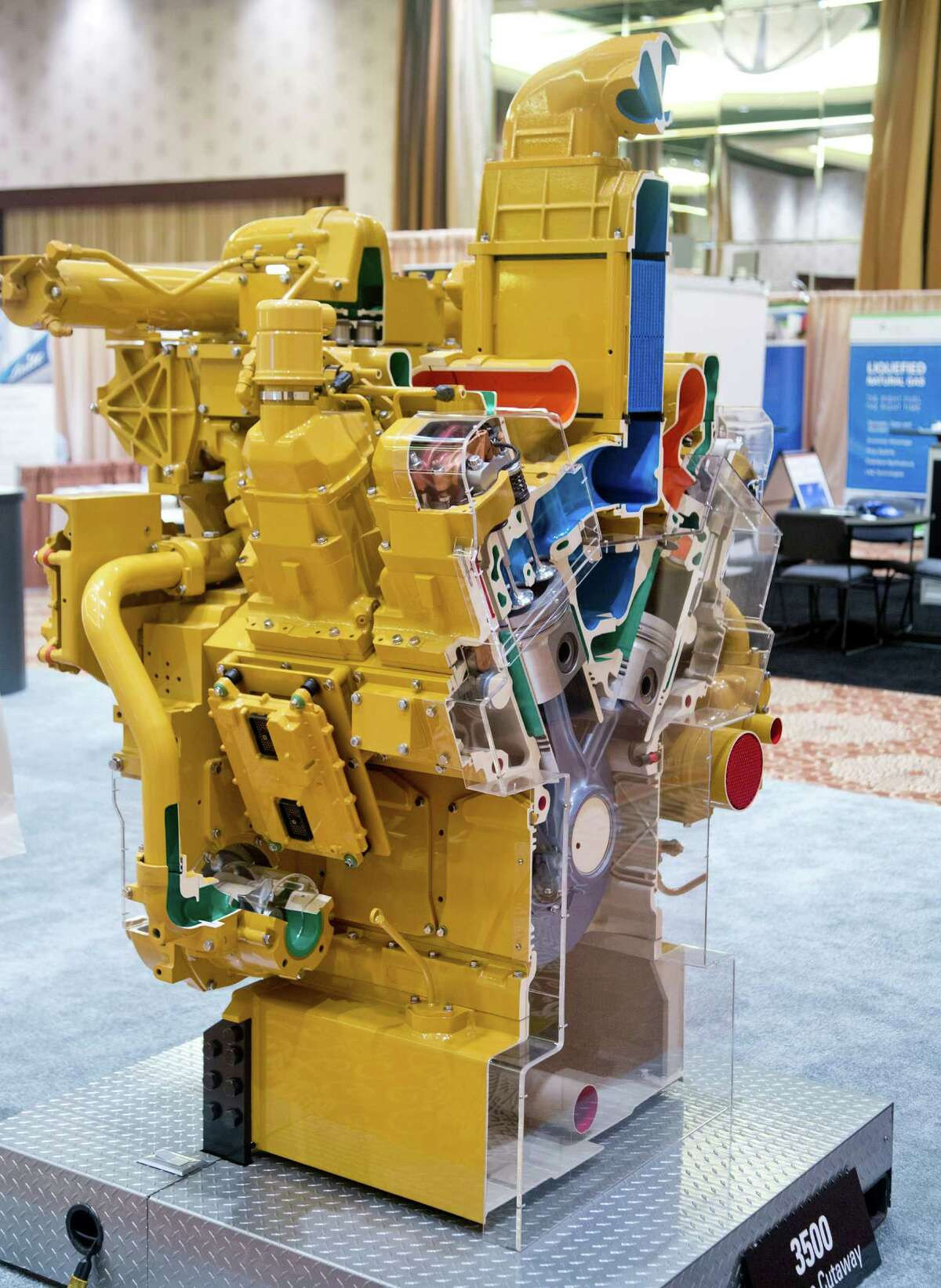 9/27/12: A Caterpillar 3500 engine cutaway display at the Natural Gas for High Horsepower Applications Summit 2012 at the Royal Sonesta Hotel in Houston, Texas.