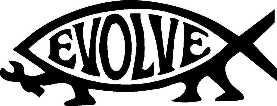 The  evolve fish  is a widely recognized symbol for atheists. That outline of a footed fish with the word  evolve  in the center first appeared in 1992, developed by two Colorado nontheists as a response to the proliferation of so-called  Jesus fish  on car bumpers and license plates. Photo: Courtesy Photo