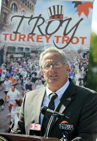Troy Mayor Lou Rosamilia speaks during a press conference announcing details of the 65th Annual Troy Turkey Trot on Thursday, Sept. 27, 2012 in Troy, N.Y. (Lori Van Buren / Times Union) Photo: Lori Van Buren