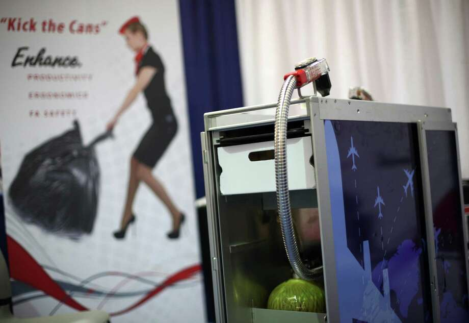 A Dynamo Beverage aircraft drink cart with a  built-in soft drink dispenser is shown. Photo: JOSHUA TRUJILLO / SEATTLEPI.COM