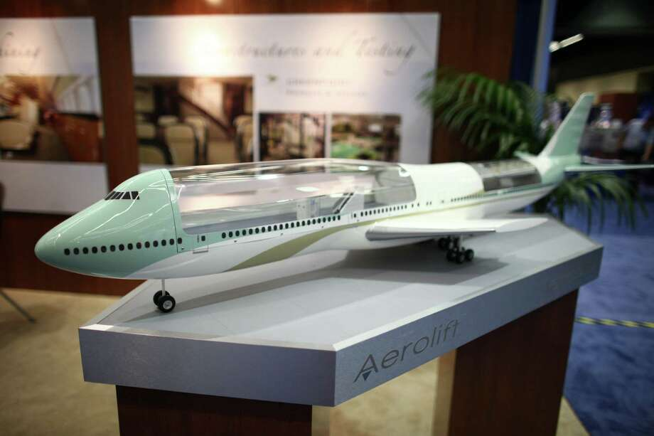 A model of an Aerolift customized 747-8 is shown. Photo: JOSHUA TRUJILLO / SEATTLEPI.COM