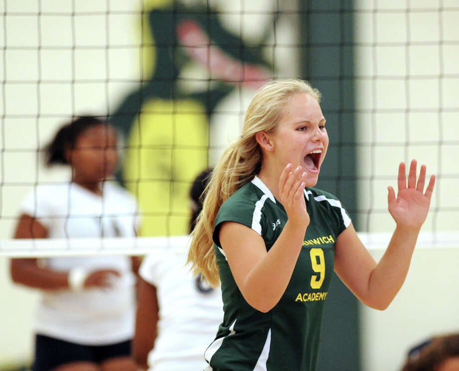 Grace Evans # 9 of Greenwich Academy reacts during the girls high school volleyball match between Greenwich Academy and King at Greenwich, Thursday, Sept. 27, 2012. Photo: Bob Luckey / Greenwich Time