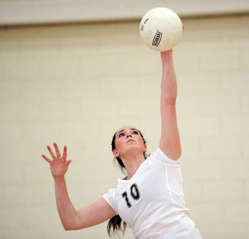 Chrissie Bonaventura #10 of King during the girls high school volleyball match between Greenwich Academy and King at Greenwich, Thursday, Sept. 27, 2012. Photo: Bob Luckey / Greenwich Time