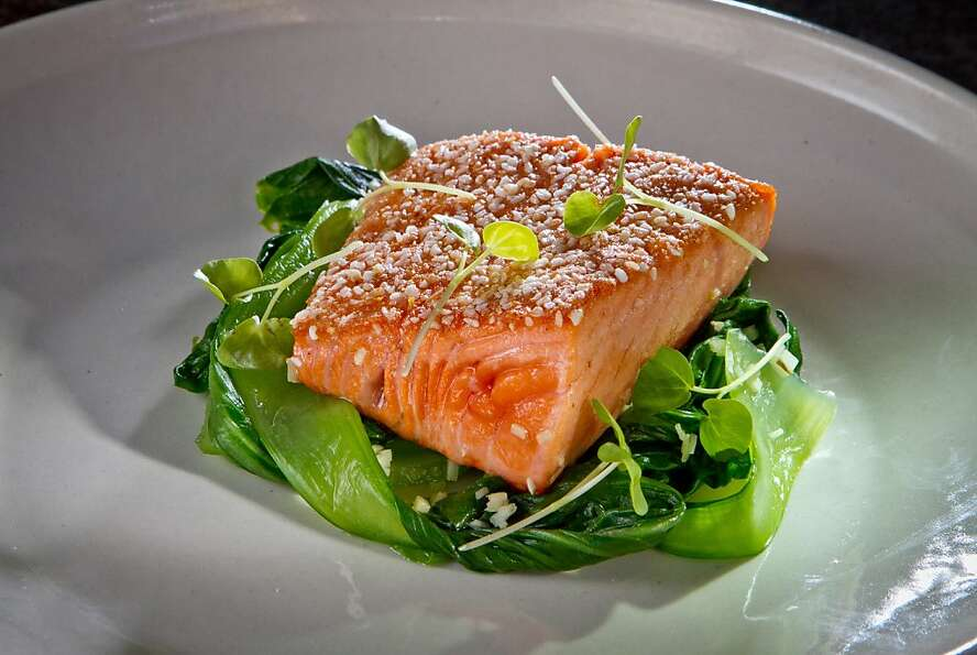 King salmon is served with buckwheat, bok choy and ginger at Rich Table.