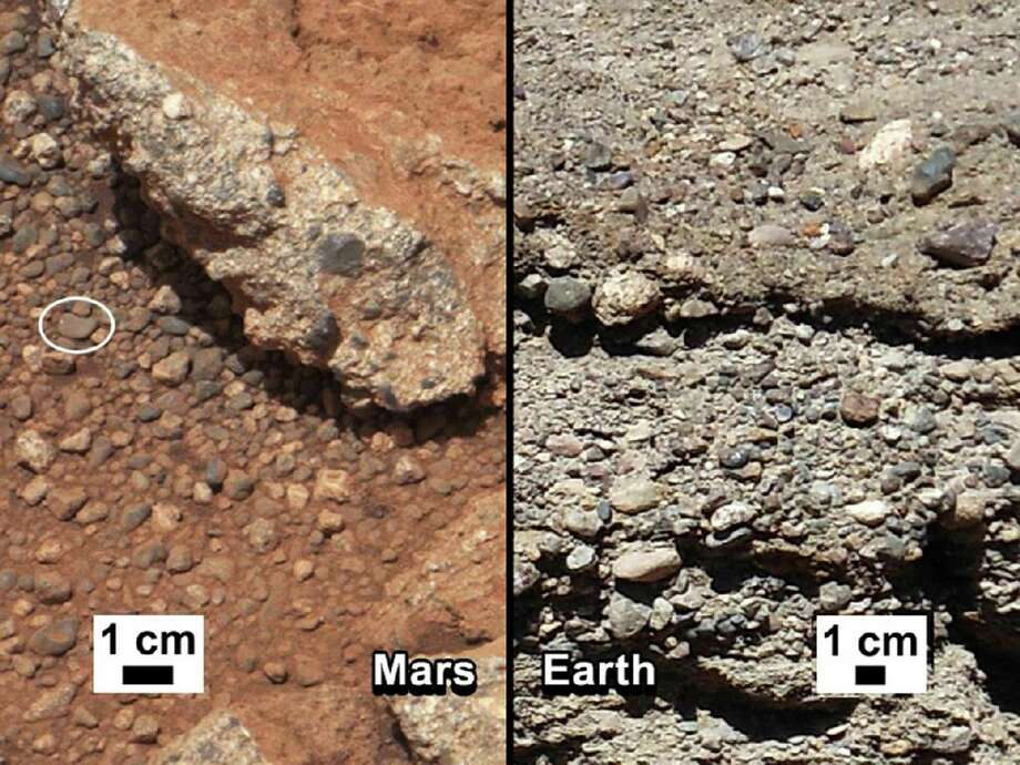 This image provided by NASA shows shows a Martian rock outcrop near the landing site of the rover Curiosity thought to be the site of an ancient streambed, next to similar rocks shown on earth. Curiosity landed in a crater near Mars' equator on Aug. 5, 2012, on a two-year mission to study whether the environment could have been favorable for microbial life. (AP Photo/NASA) Photo: Associated Press / NASA
