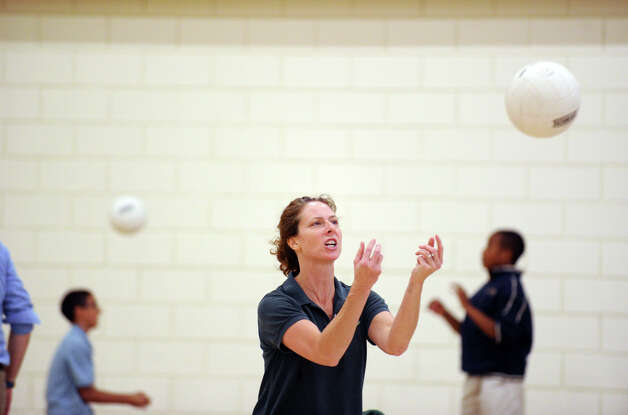 Greenwich Academy Volleyball Coach Christy Girard prior to the girls high school volleyball match between Greenwich Academy and King at Greenwich, Thursday, Sept. 27, 2012. Photo: Bob Luckey / Greenwich Time
