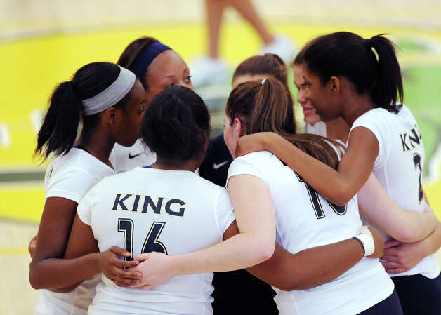 King huddles during the girls high school volleyball match between Greenwich Academy and King at Greenwich, Thursday, Sept. 27, 2012. Photo: Bob Luckey / Greenwich Time