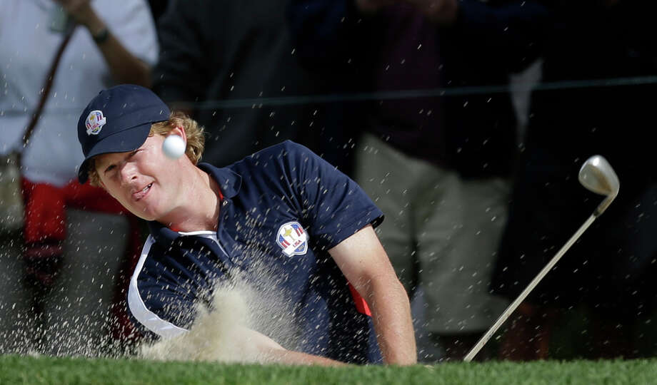 USA's Brandt Snedeker hits out of a bunker on the fifth hole during a practice round at the Ryder Cup PGA golf tournament Thursday, Sept. 27, 2012, at the Medinah Country Club in Medinah, Ill. (AP Photo/David J. Phillip) Photo: David J. Phillip / AP