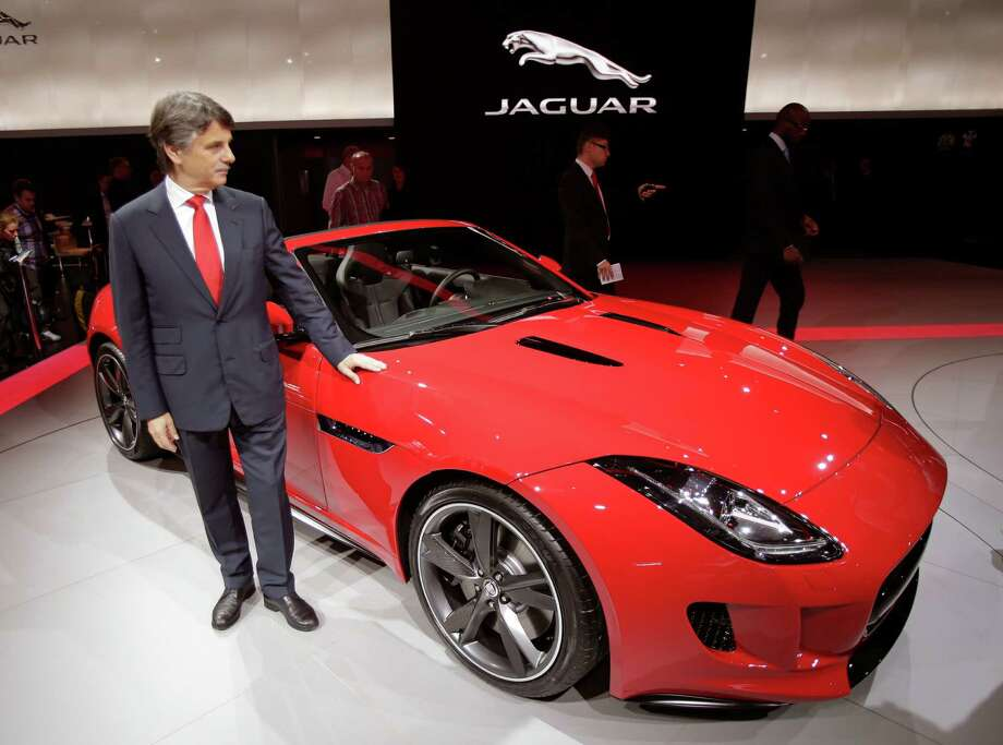 The Jaguar F-Type is on display at the Paris Auto Show this week. The F-Type, the first Jaguar two-seater in a half-century, is the first major Jaguar design under the company's new owners, Indian auto company Tata. Photo: Michel Euler / AP