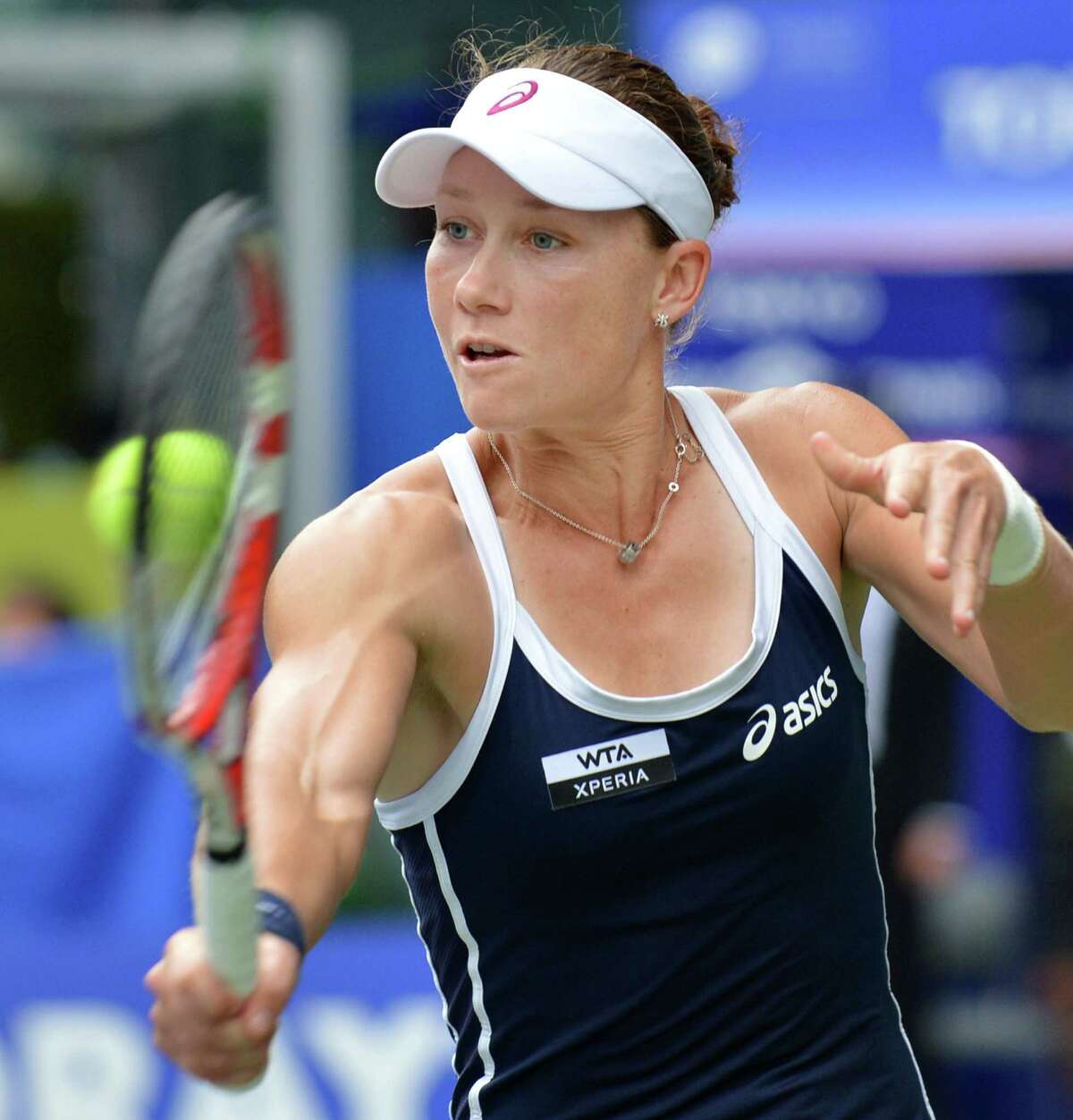 Samantha Stosur of Australia hits a return against Maria Sharapova of Russia during their women's singles quarter-final match at the Pan Pacific Open tennis tournament in Tokyo on September 27, 2012. AFP PHOTO / KAZUHIRO NOGIKAZUHIRO NOGI/AFP/GettyImages